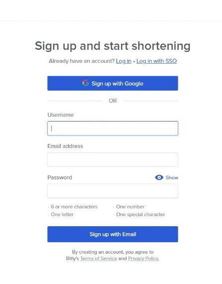 Bitly regisztráció