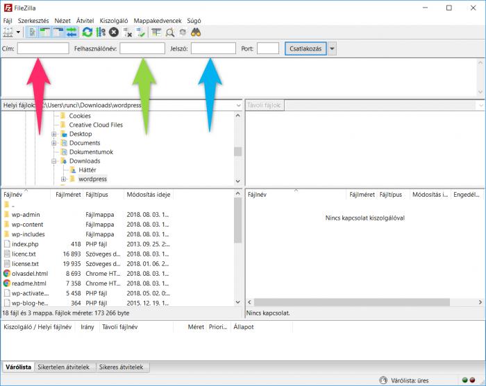 FileZilla - FTP adatok