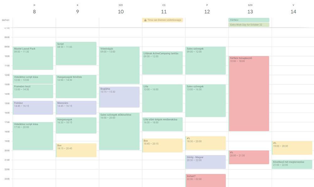 Héttervezés - Google naptár