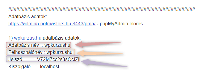 MYSQL adatbázis adatok