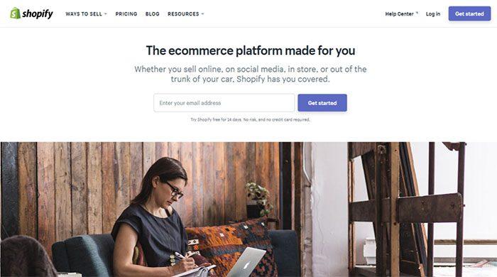 Shopify weboldal