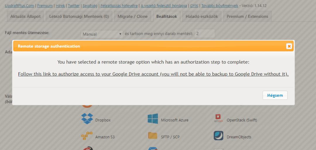 UpdraftPlus Backup Google Drive tárhely automatikus hitelesítése