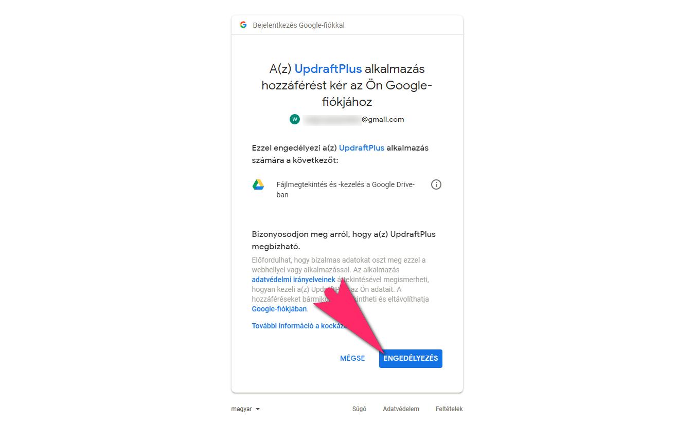 UpdraftPlus Backup Google Drive tárhely hozzáférés engedélyezése