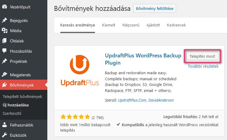 UpdraftPlus Backup telepítése
