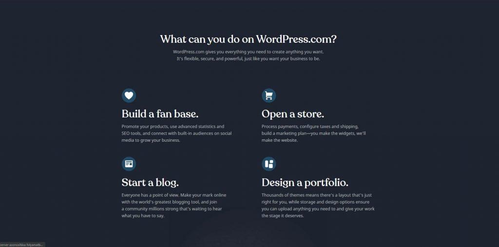 Wordpress.com főoldal