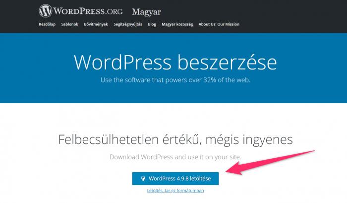 WordPress letöltése