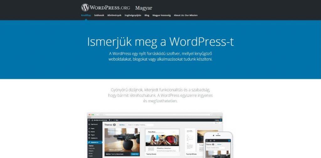 Wordpress.org főoldal